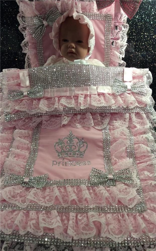 OOAK Romany Crystal Bling Baby Girls Princess Pram Quilt Set dummy Hanging Charm