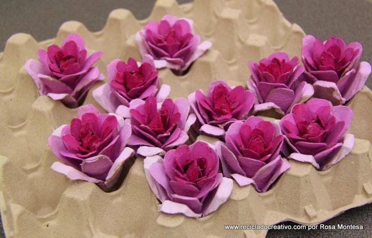 C mo hacer flores con hueveras de cart n diy y - Manualidades con hueveras ...