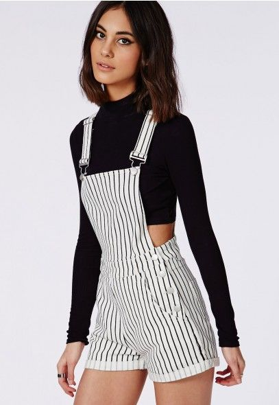 Stripe Dungarees Cream - Playsuits - Missguided
