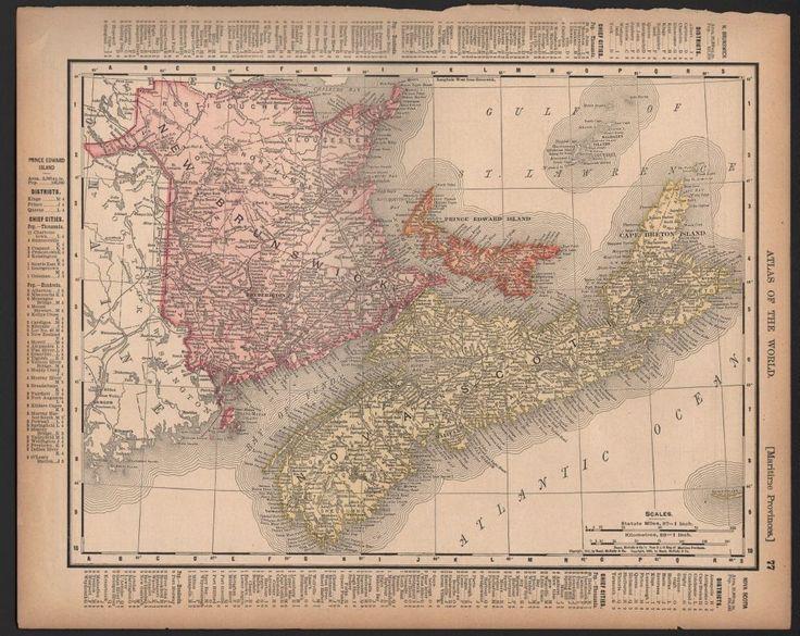 Nova Scotia - Prince Edward - New Brunswick Canada 1902 Rand McNally Atlas Map