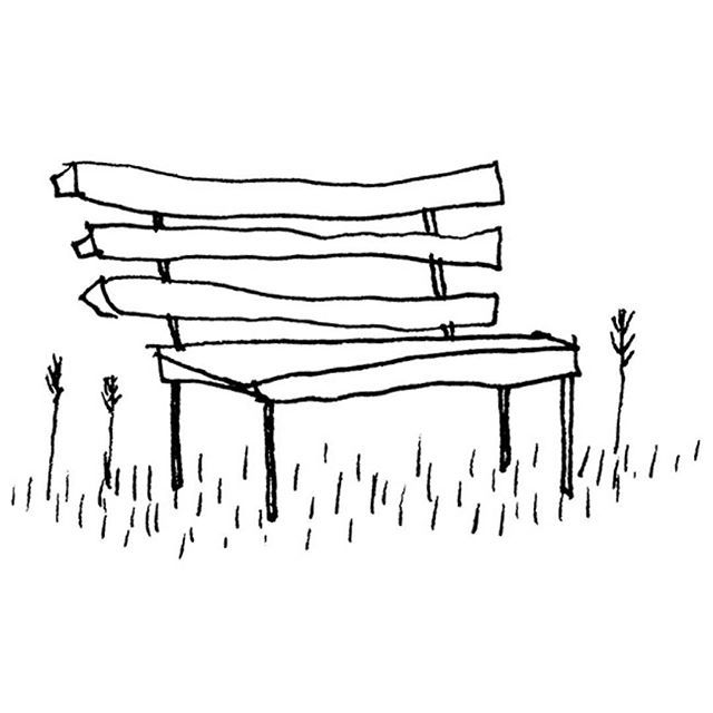 Drawing Illustration Bench Park Spring Grass Chad Walker