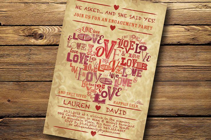 Vintage Heart Theme- Engagement Party Invitation, Digital or Printed. $15.00, via Etsy.