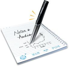 Livescribe Smart Pen solve the problem of taking notes during meetings or lectures.  Click here to watch a demo.  https://www.youtube.com/watch?v=9m6zCCJmdQM