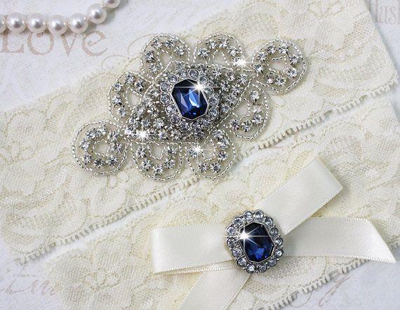 Mejor vendedor - ZANNA - zafiro azul Liga Set, Ivory encaje liguero, Rhinestone nupciales cristalinos ligas de la boda, algo azul