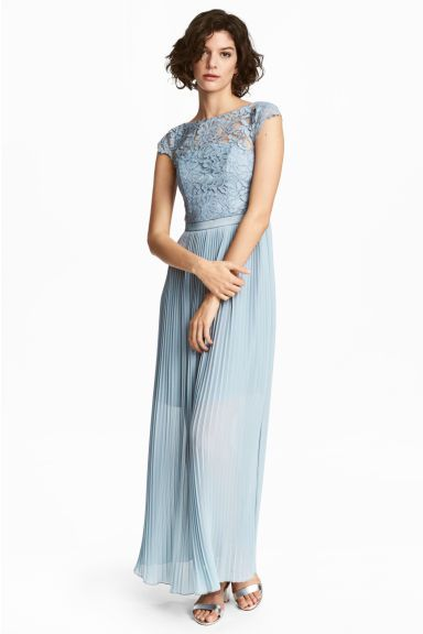 H&M - Maxi dress with lace bodice - Light blue