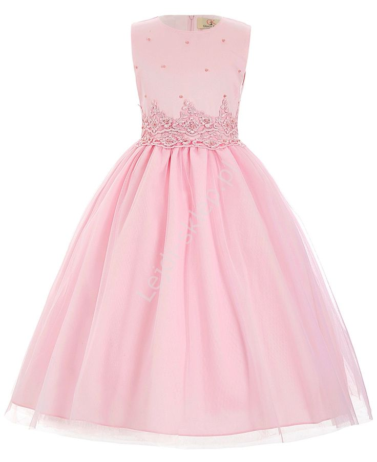 Jasnoróżowa sukienka z perełkami dla dziewczynki   sukienki z perełkami dla…