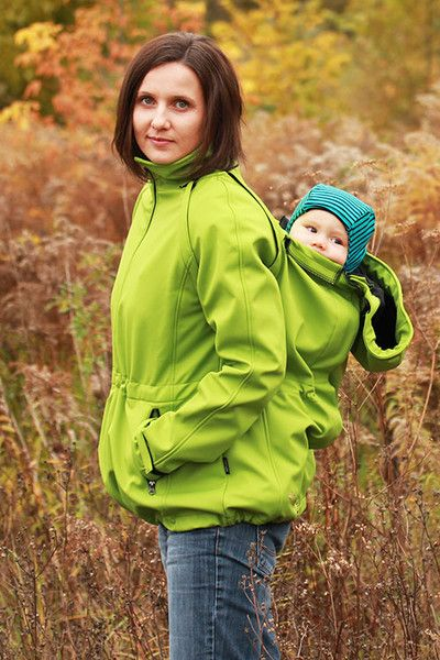 Green Babywearing jacket with removable sleeves 4in1 Green – a unique product by Jana-Antczak. Via en.DaWanda.com.
