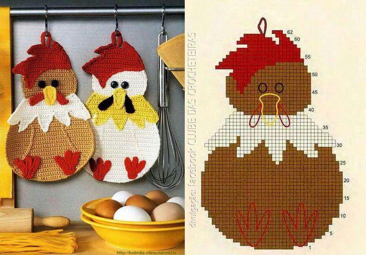 Crochet Chicken Potholder. Cute!