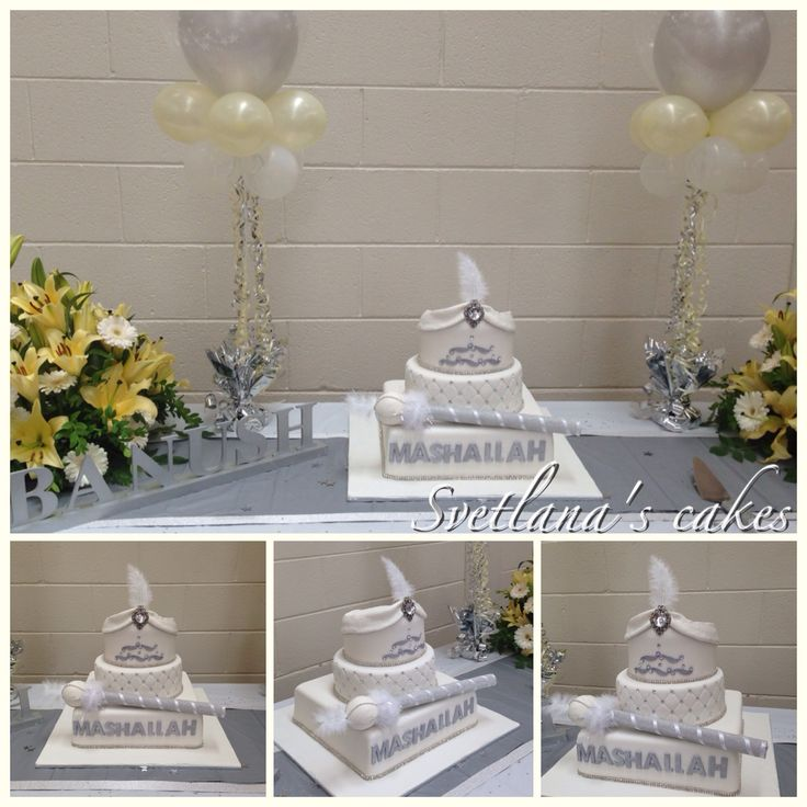 Three tier white and silver cake with hat and handmade stick for Banush's sünnet... Mashallah Banush!...
