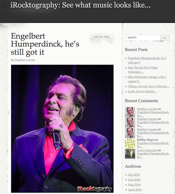 iRocktography Captures Engelbert Humperdinck's Performance in the Philippines - http://www.okgoodrecords.com/blog/2016/07/25/irocktography-captures-engelbert-humperdincks-performance-in-the-philippines/ - International music legend and King of Romance, Engelbert Humperdinck recently performed at theAraneta Coliseum in the Philippines. iRocktography was there to capture it all. Aside from taking fabulous pictures throughout the night, the blog also gave a rave review of Enge