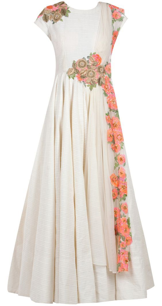Cream and floral anarkali set by RIDHI MEHRA.: