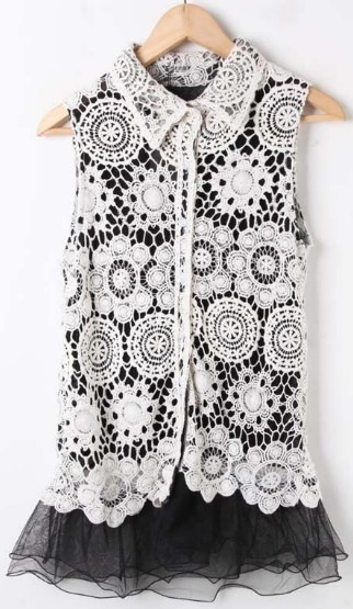 Black Sleeveless Floral Lace Layer Ruffle Hem Blouse