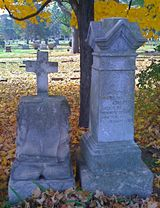 Gravestones in Saint Mary and Saint James Cemetery in Rockford, Illinois. (Photo © Scott P. Ric
