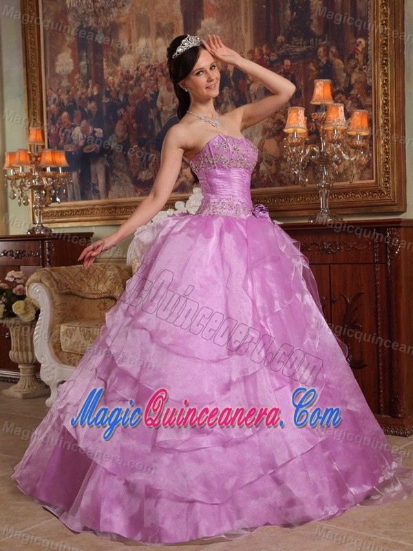 Lavender Sweetheart Beaded Tiered Organza Quince Dress in Aachen