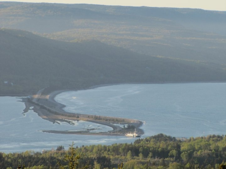 Overlooking Englishtown ferry from St. Anns lookoff; Cape