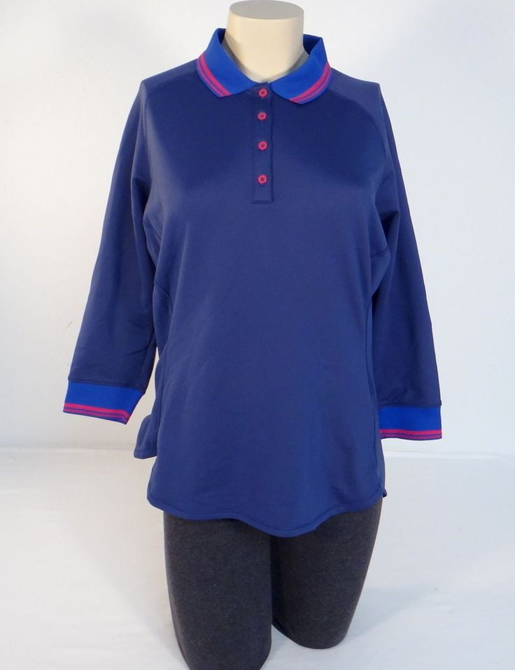 Adidas Climawarm Blue Cold Weather 3/4 Sleeve Polo Shirt Women's Nwt
