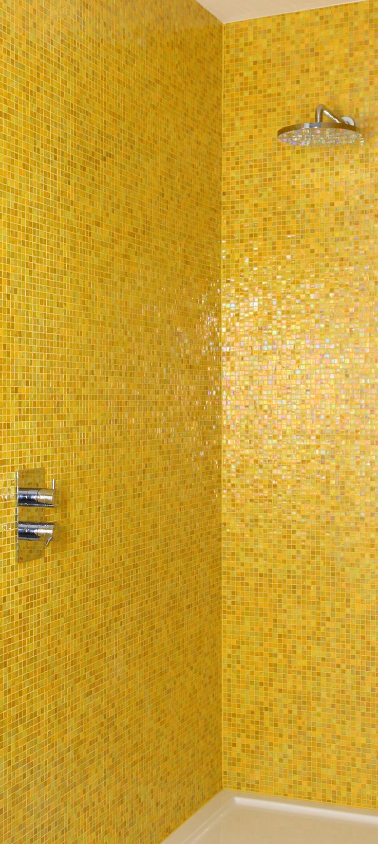 Yellow tile bathroom paint colors - Bold Yellow Makes Such A Happy Statement In A Shower