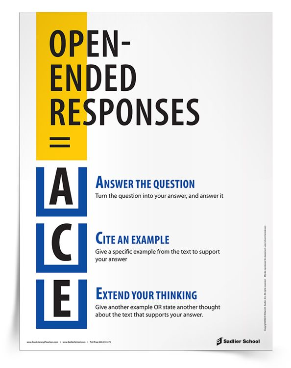 ACE Answering Open-Ended Responses Reference Sheet | Sadlier School