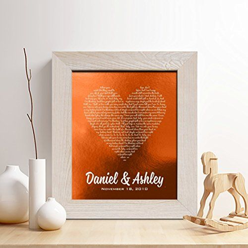 Personalized+7th+or+22nd+Copper+Anniversary+Gift+for+Him+or+Her%2C+First+dance+song+Copper+Print%2C+Wedding+Vow+Copper+Print%2C+any+Text%2CGifts+for+Husband+and+Wife%2C+7+Years+Together