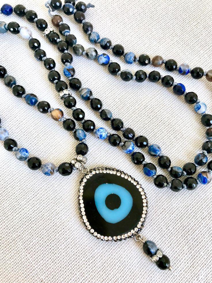 Evil eye pendant mala necklace fire agate blue brown mala black onyx mala necklace yoga mala meditation gemstones necklace 108 prayer beads by Katiaicrafts on Etsy