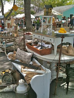 TATTERED SUNDAY - Imagine a whole street blocked off ~just filled with gorgeous vintage treasures... Faded linens, sh...