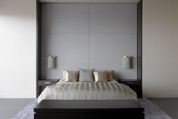 Aguirre Design - Custom made wall mounted panels upholstered in fabric with a rift oak dark stain finished frame. Customized bed frame in oak as well as the night stands.   In collaboration with: Purvi Padia Design