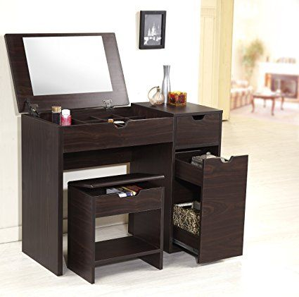 Furniture of America Enitial Lab Marc 2-Piece Modern Vanity and Storage Stool Set, Walnut: Amazon.ca: Home & Kitchen