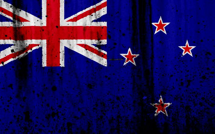Download wallpapers New Zealand flag, 4k, grunge, flag of New Zealand, Oceania, New Zealand, national symbols, New Zealand national flag