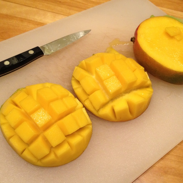 114 best nutritious family meals images on pinterest food mango hedgehog style cut ccuart Choice Image