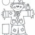 Cute fall scarecrow to individually color or you may use as a pattern for your bulletin board, letters home, etc.   by Bunky Business...