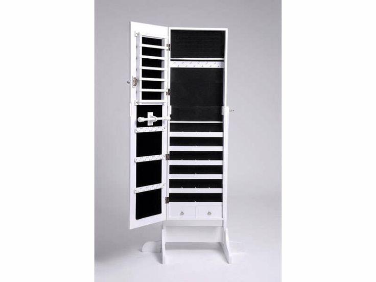 miroir coffre bijoux monica coloris blanc vente de miroir sur pied et psych - Miroir De Chambre Sur Pied