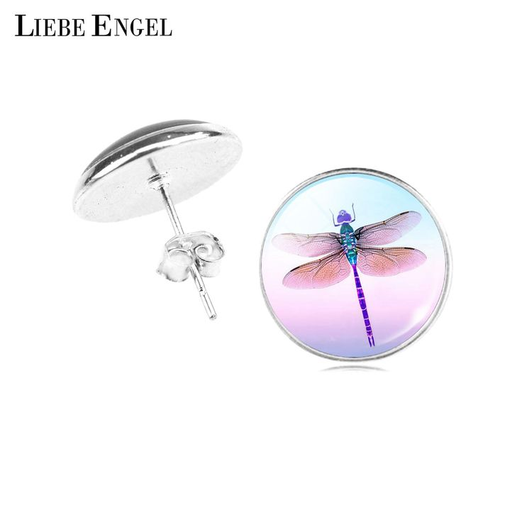 LIEBE ENGEL Hot Sale Women Elegant Jewelry Dress Accessory Lovely Dragonfly Crystal Cabochon Round Stud Earrings Birthday Gift