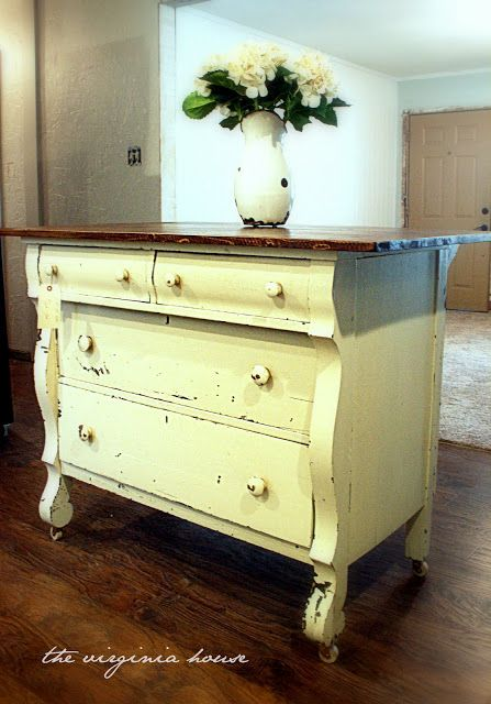 antique dressers used as kitchen islands | wanted the distressing on the back to match the original, old chippy ...
