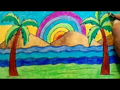 How To Draw Rainbow Drawing For Kids Easy Scenery Of Rainbow For