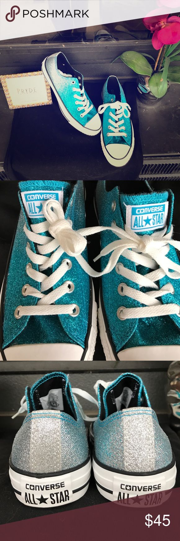 NWOT! Blue/Silver Glittered Converse! The shoes begin with white toes, blue glitter ombrés into silver at the heels. Perfect condition, never worn. Firm Price. NWOT Converse Shoes Sneakers