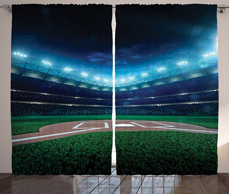 Sports Decor Curtains by Ambesonne, Professional Baseball Field at Night with Spotlights Playground Stadium League Theme, Living Room Bedroom Decor, 2 Panel Set, 108W X 84L Inches, Green Blue -- You can find out more details at the link of the image. (This is an affiliate link and I receive a commission for the sales)