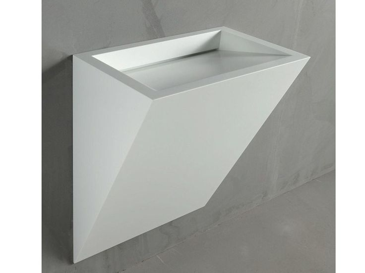 Wall-mounted Corian® washbasin GAP TO WALL 06 Gap Collection by RIFRA