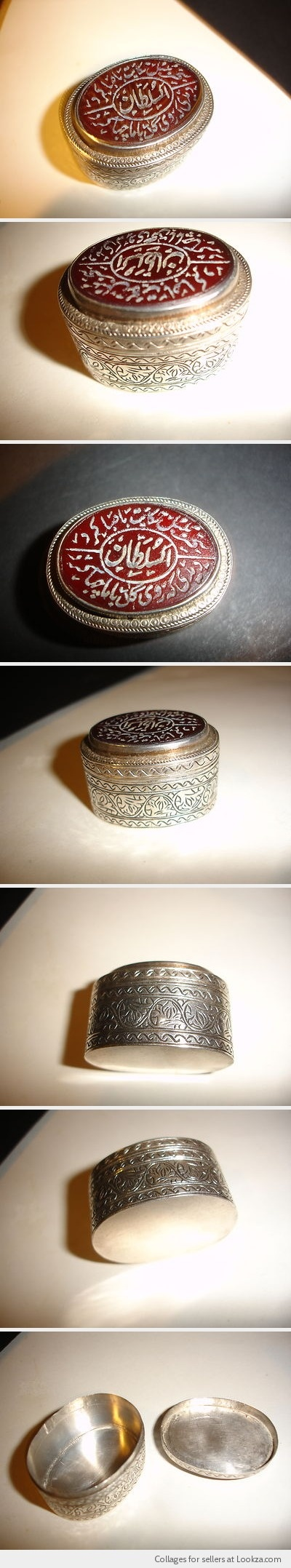 VINTAGE ENGRAVED SILVER PILL BOX CORNELIAN INTAGLIO ARABIC ISLAMIC CALIGRAPHY .$199 BUY it NOW/OFFERS   - Found on Lookza.com