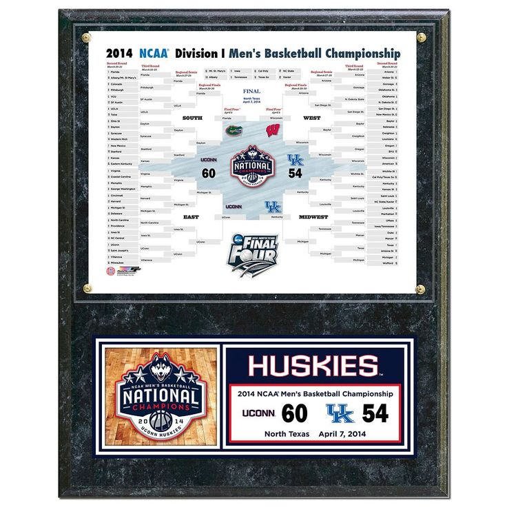 "UConn Huskies 2014 Ncaa Men's Basketball Champions 12"" x 15"" Plaque, Multicolor"