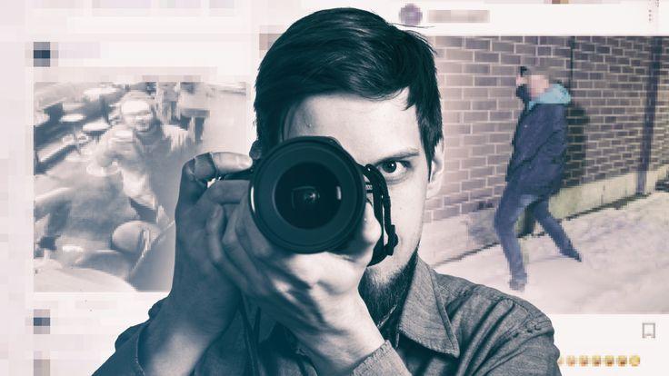 Kuvakollaasi, jossa on mies kuvaamassa ja sosiaalisessa mediassa julkaistuja kuvia muista ihmisistä.