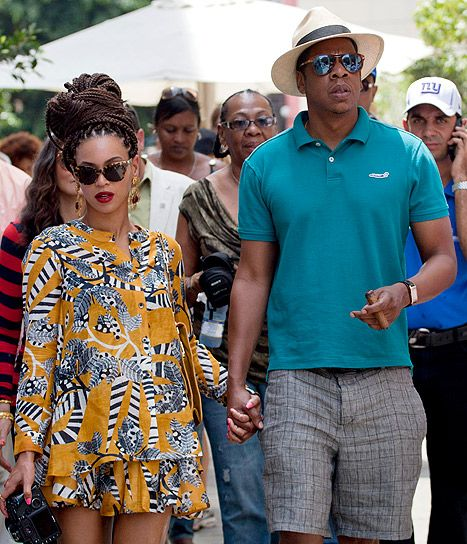 Beyonce & Jay-Z in Old Havana, Cuba | Not sure what Beyonce is rocking... but I love the teal polo and gray striped shorts that Jay-Z has on. I could so see husband wearing something like this.