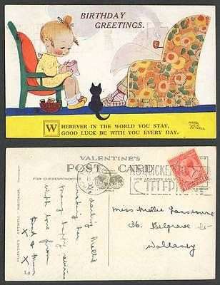 MABEL LUCIE ATTWELL 1932 Old Postcard Wherever, Good Luck with You! Black Cat L9