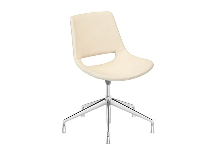 Chair with five way base in polished aluminum, fitted with return mechanism. The shell is available in polyethylene or fully upholstered in leather, faux leather, fabric or customer's fabric.