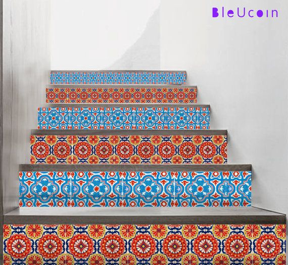 Mexican talavera stair riser decal:    We are now launching a very fresh design coming from our travelogue & created by our artisan in Pushkar-
