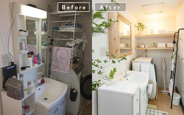 洗面所がスッキリ 賃貸でもできる模様替えテク 洗面所 おしゃれ Diy