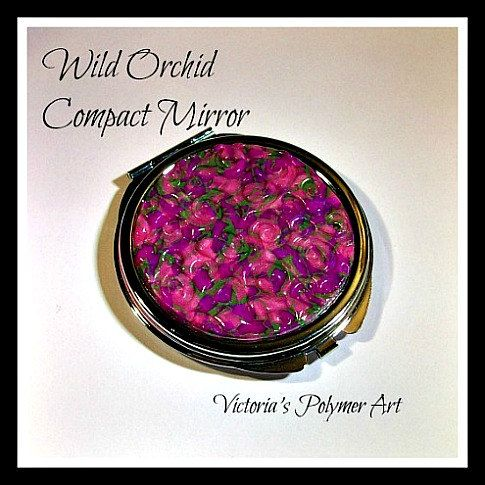 Compact Mirror   Wild Orchid by VictoriasPolymerArt on Etsy, £6.75