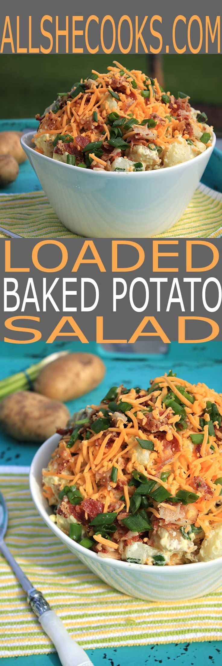 Looking for some of the best picnic side dishes? You will LOVE our Loaded Baked Potato Salad. This is the perfect side dish to bring to your next bbq.