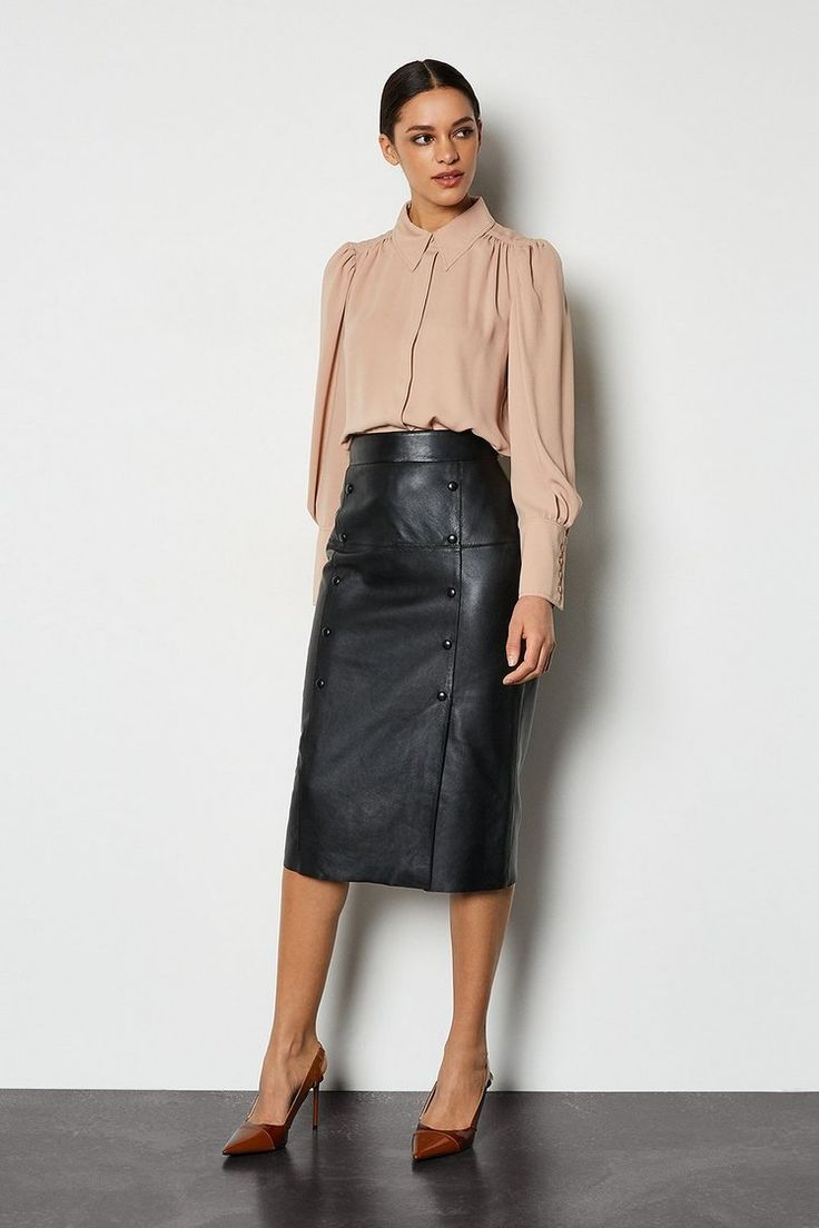 Versace Safety Pin Nappa Leather Skirt for Women   US