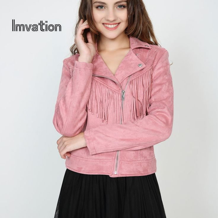 Imvation  2017 Faux Suede Female Bomber Jacket Women Fashion Zipper Buckle Jacket Vintage Tassel Pocket Biker Jacket  #Affiliate