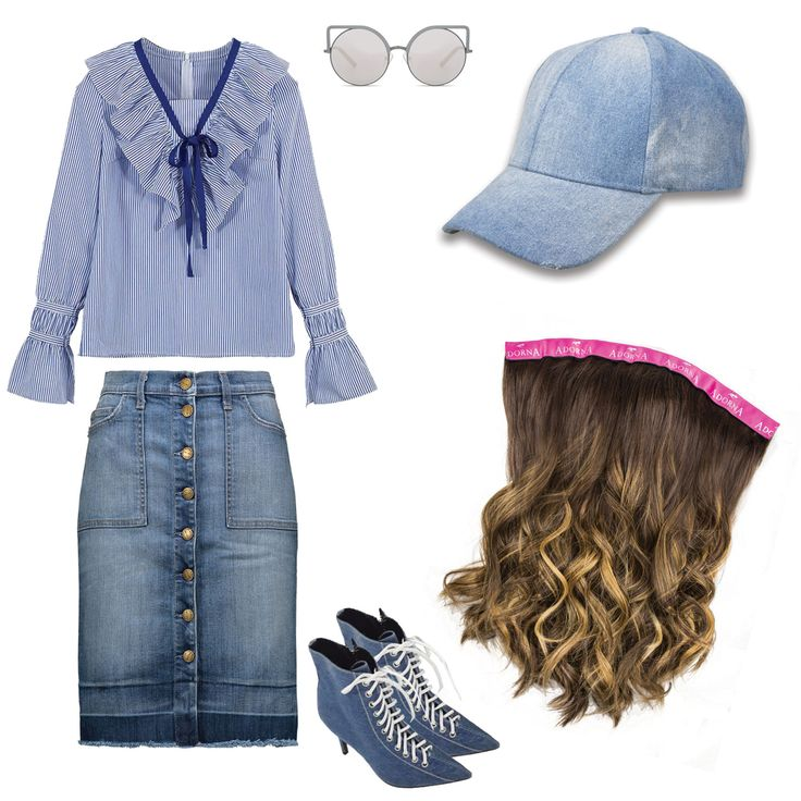 when in doubt wear denim #TheMadelynCap  . . . extension & hat @adorna_official @milanowigs Skirt @currentelliott Blouse @wconcept Shoes @thearchiveshoes Glasses @matthewwilliamson